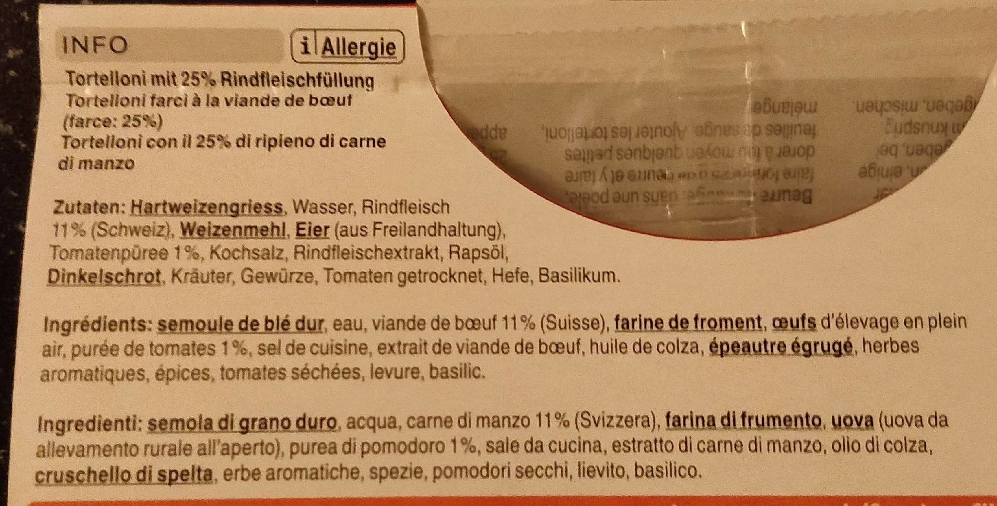 Tortelloni - Ingredients