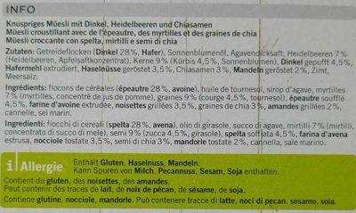 Blueberry chia Granola - Ingrédients - fr