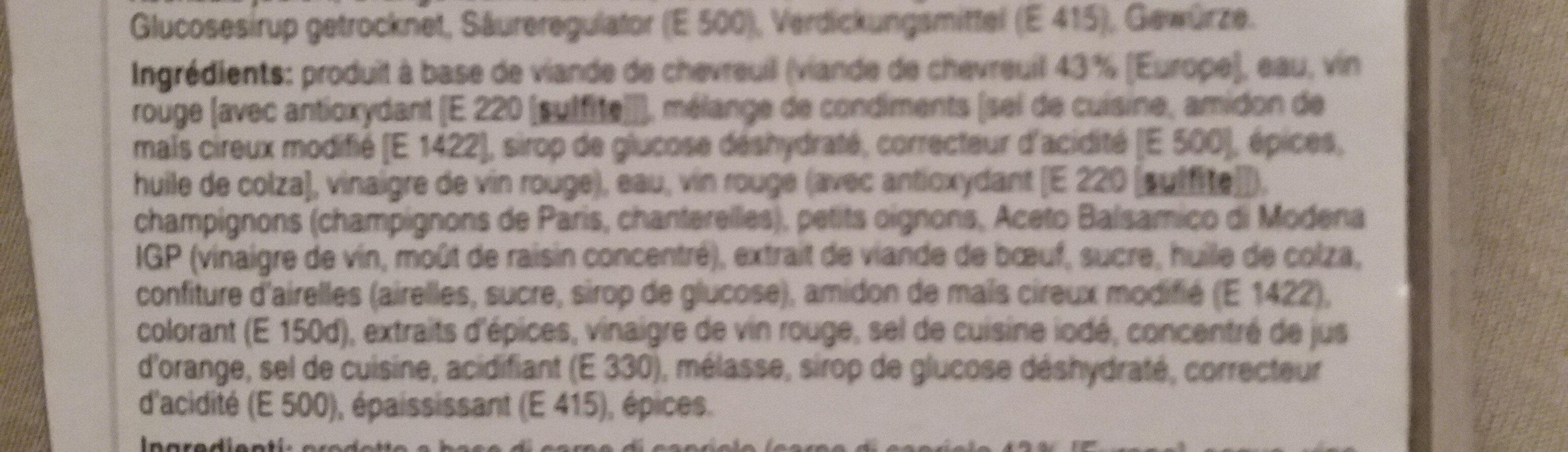 Civet de chevreuil - Ingrediënten