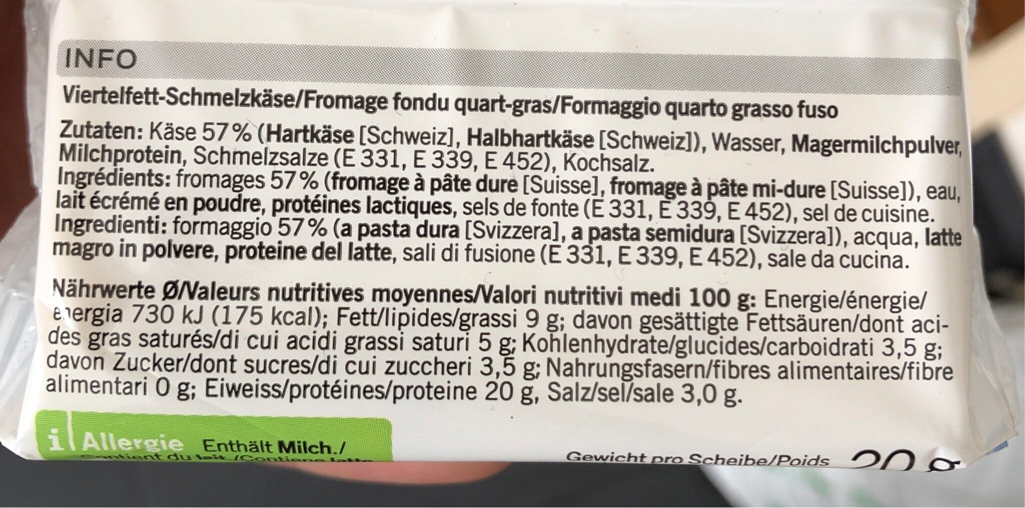 Qualité & Prix Sliced Cheese - Ingredients - fr