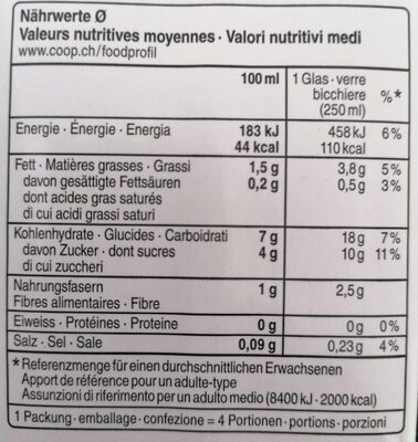 Karma : Bio Oat Drink Vegan - Valori nutrizionali - fr
