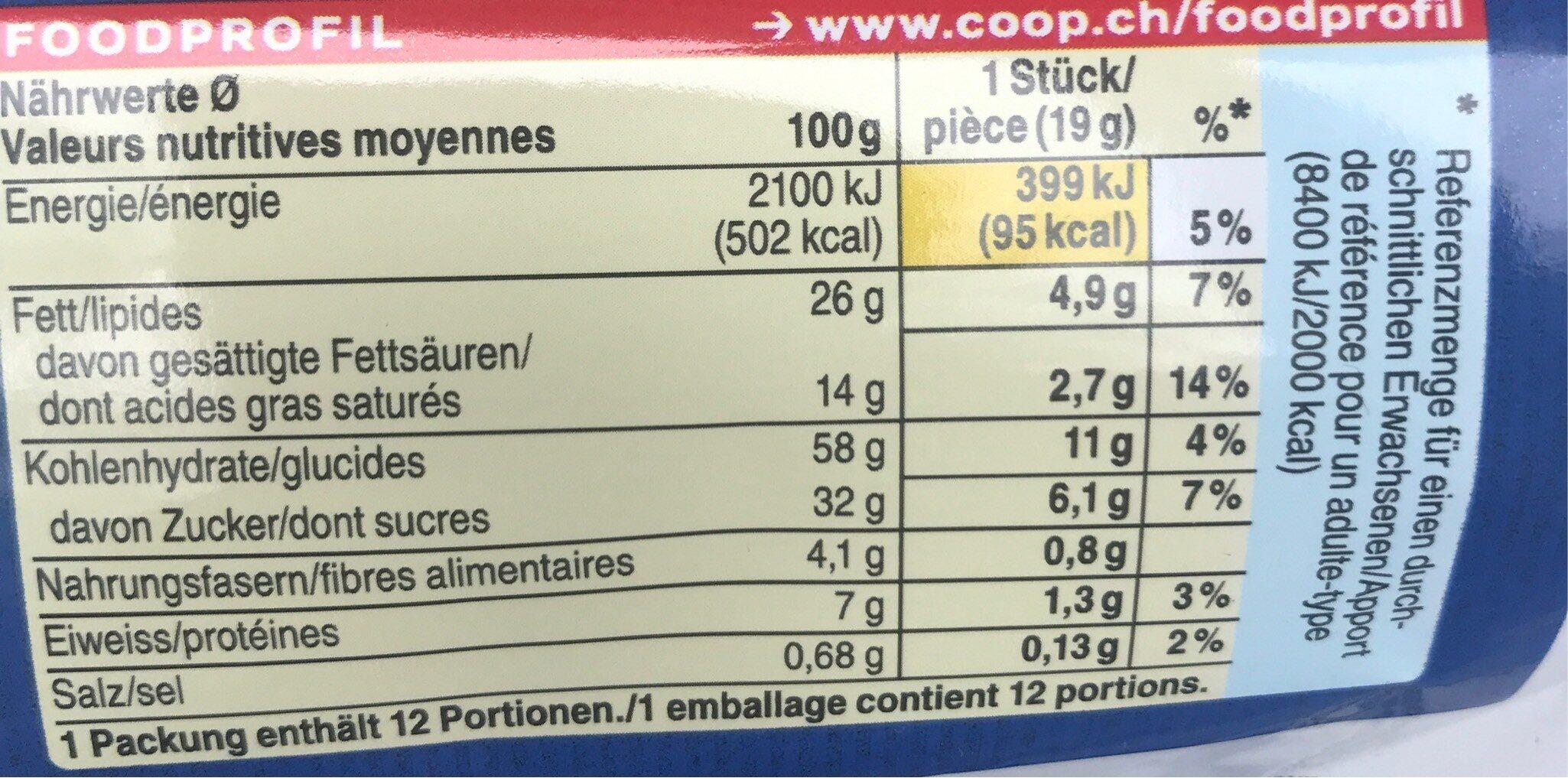 Chocolaté chip Cookie - Informations nutritionnelles