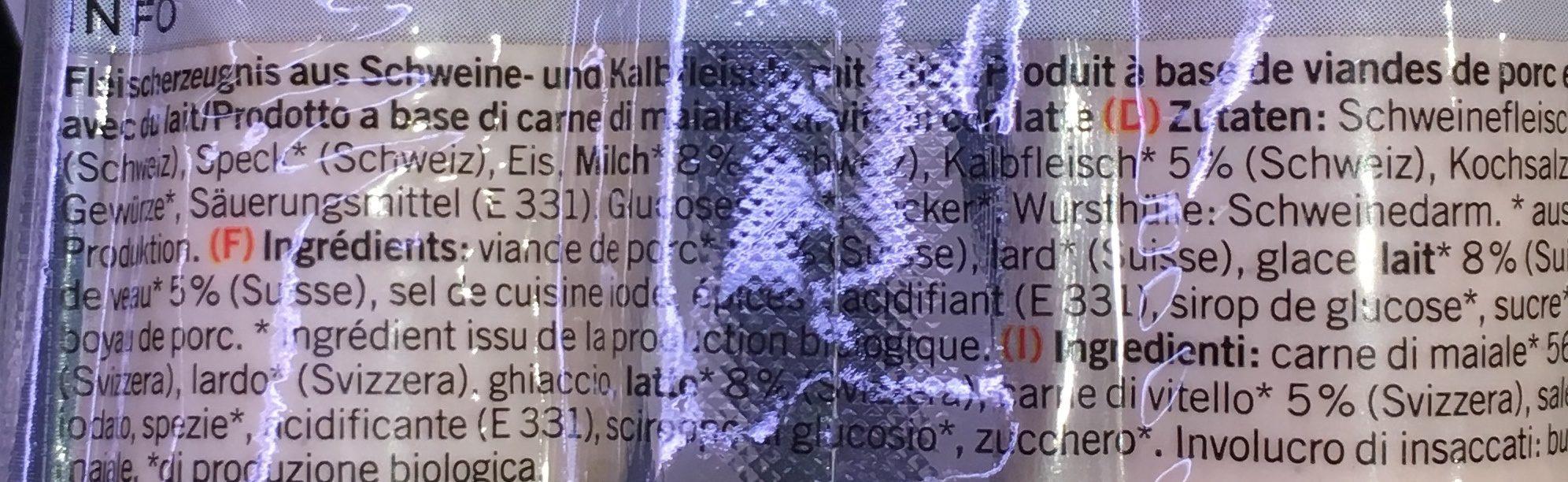 Saucisse de veau bio - Ingrédients - fr