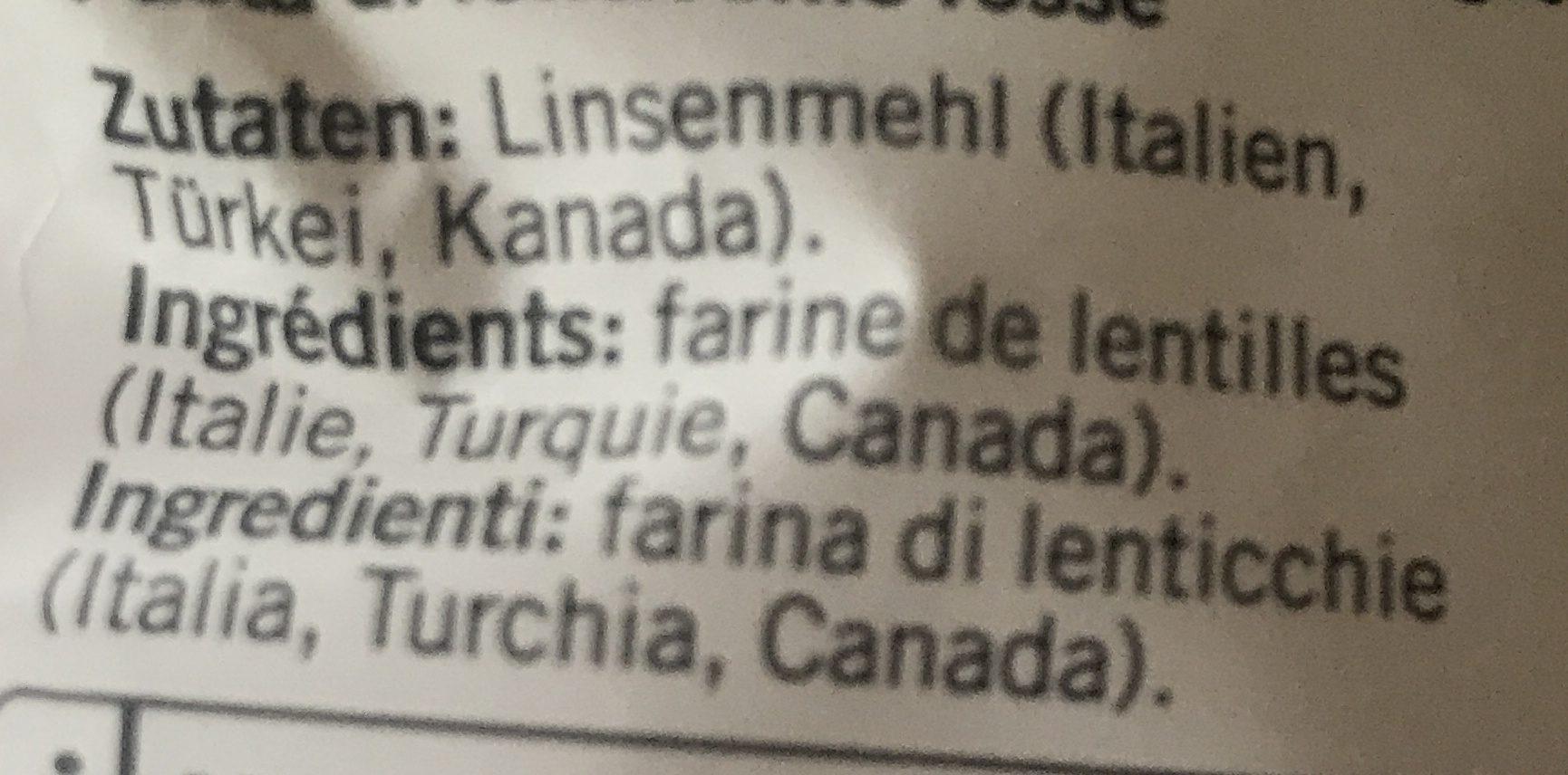 Karma Red Lentil Fusilli - Ingrediënten - fr