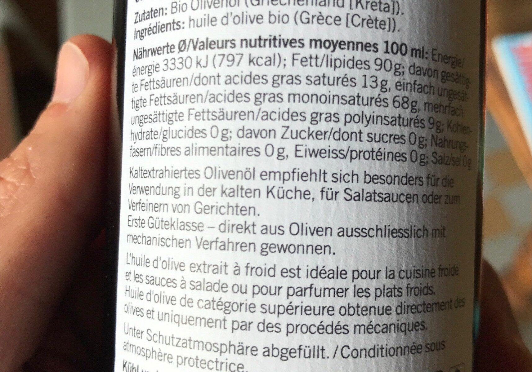 Huile d'olive Grecque - Voedingswaarden - fr