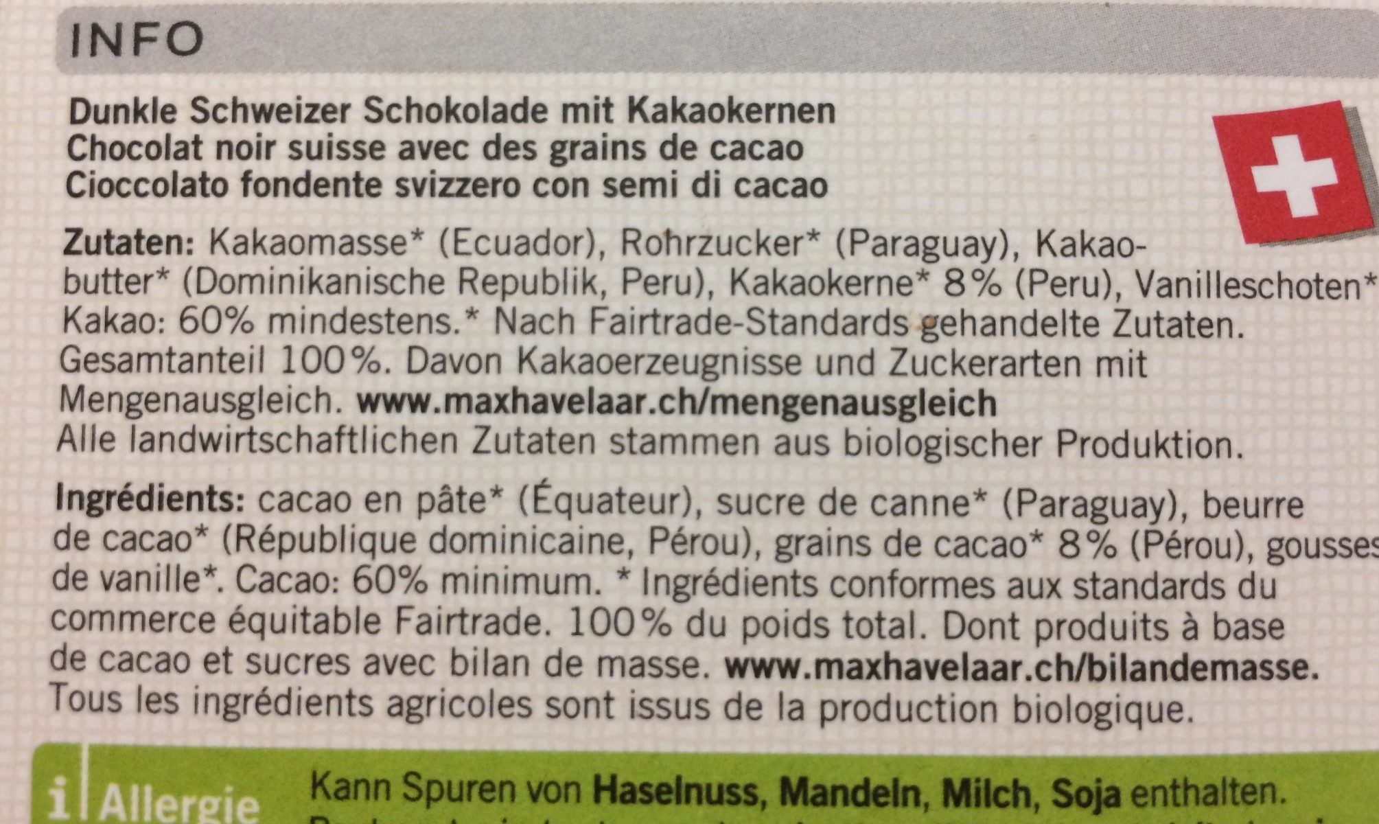 Chocolat Nacional 60% Arriba - Ingredienti - fr