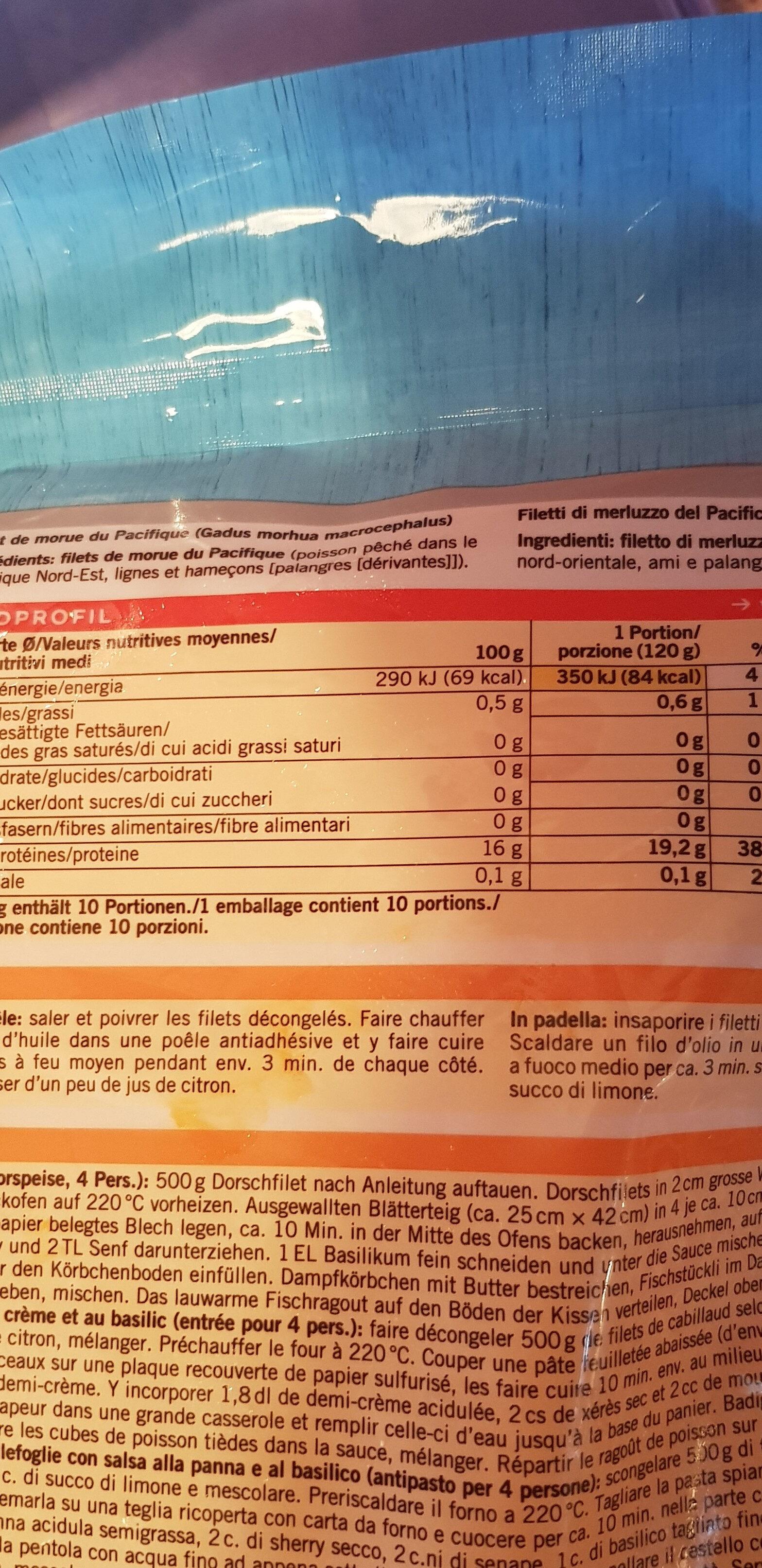 Filets de cabillaud du pacifique - Ingrédients - fr