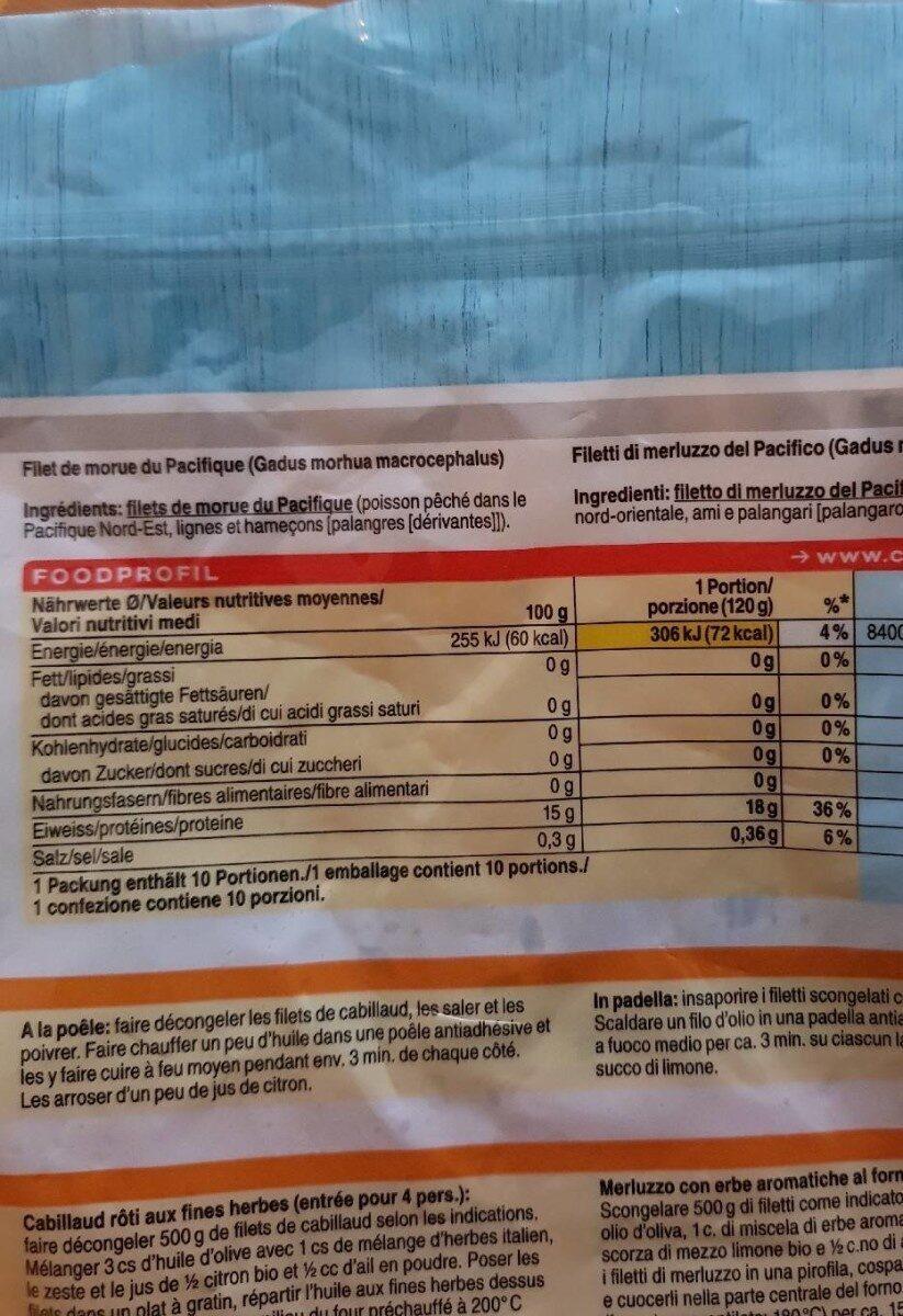 Filets de cabillaud du pacifique - Informations nutritionnelles - fr