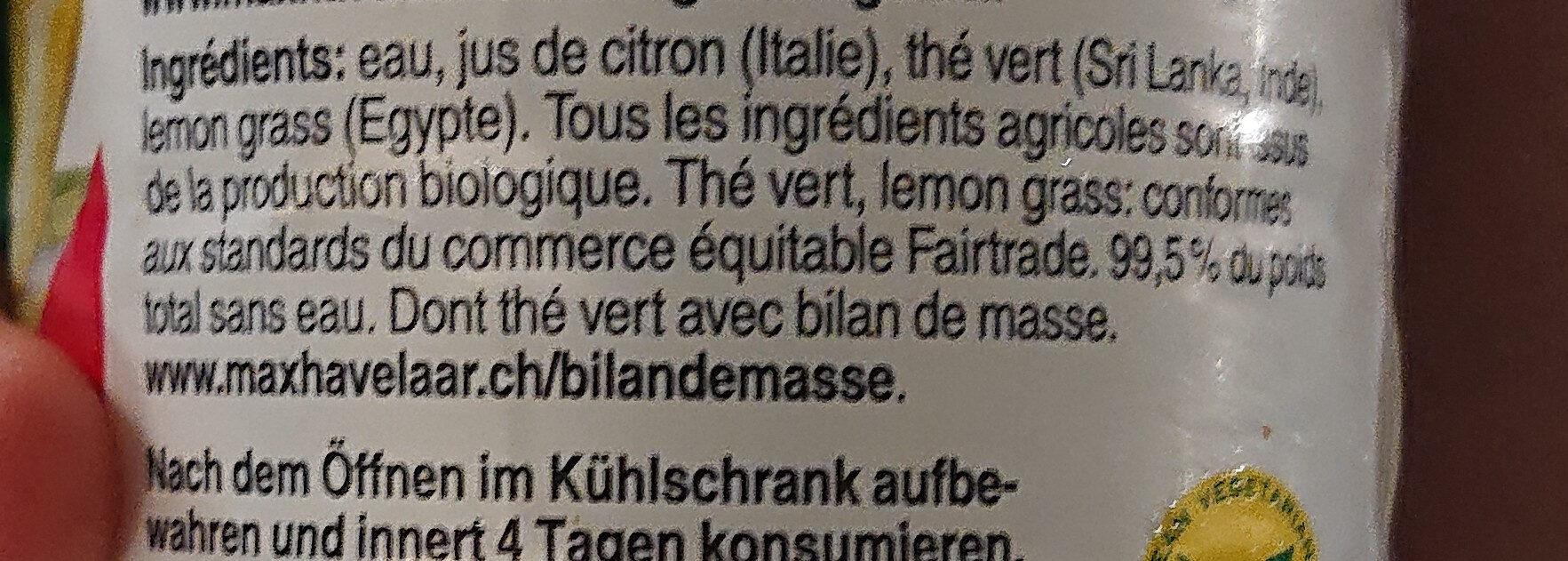 Unsweettened lemongrass green tea - Ingredients - fr
