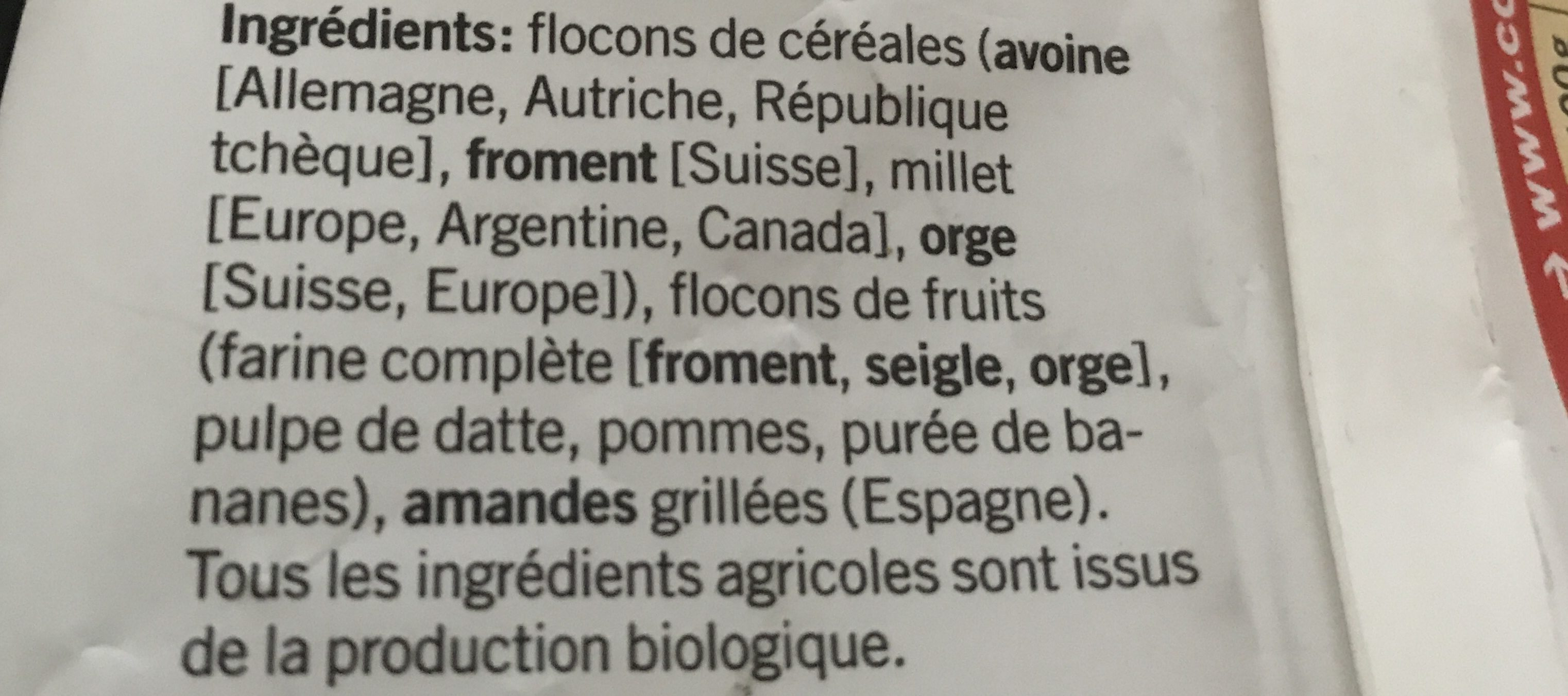 Bircher Müesli sans raisins secs - Ingrediënten - fr