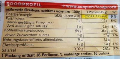 Bircher Müesli sans raisins secs - Voedingswaarden - fr