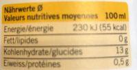 Bio Mango & Kurkuma Smoothie - Nutrition facts - fr