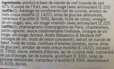 Civet de cerf - Ingrédients - fr