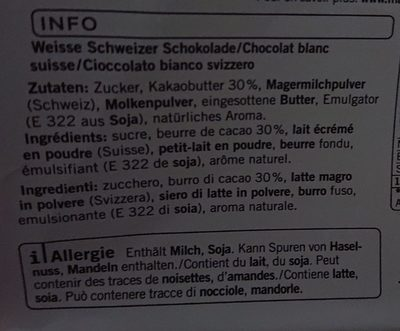 Chocolat blanc - Ingredients