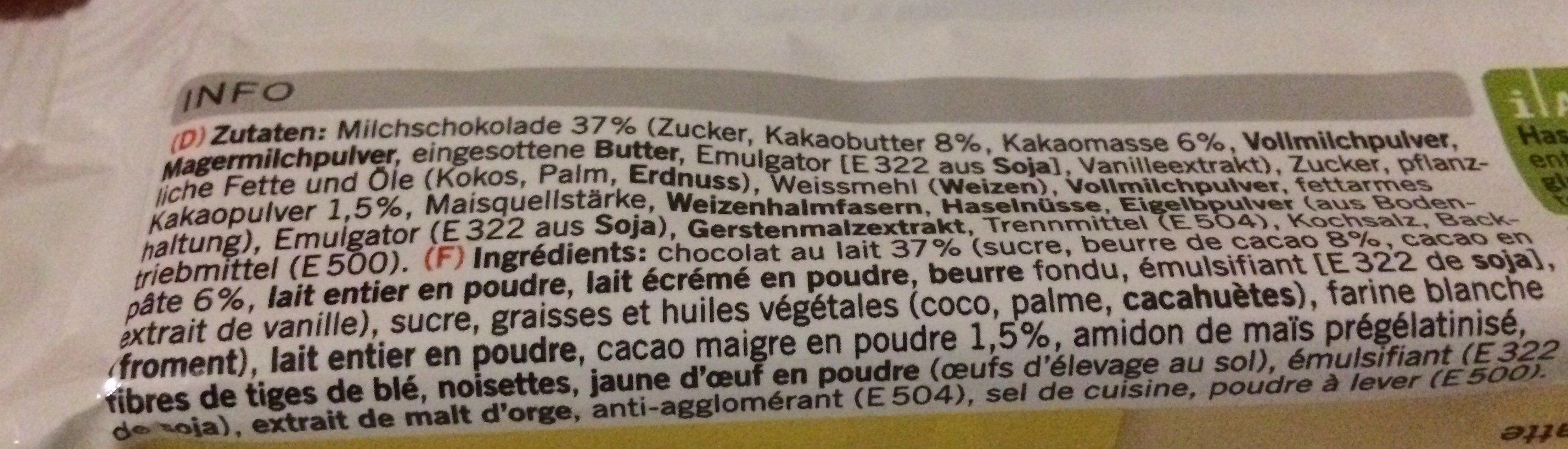 Gaufrettes enrobées de chocolat au lait - Ingredients - fr
