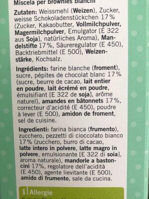 Mélange pour gâteau Blondies - Ingredients