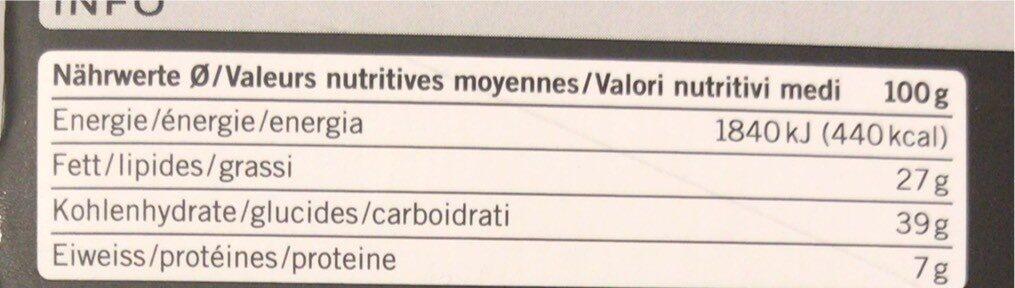 Turta Engiadinaisa - Valori nutrizionali - fr