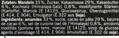 Amandes au chocolat noir salé - Ingrédients - fr