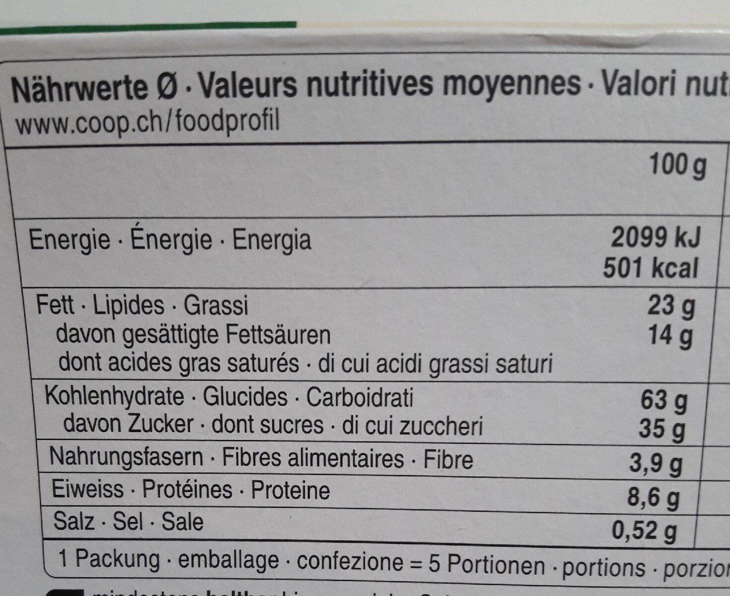 Petit beurre au chocolat - Informations nutritionnelles - fr