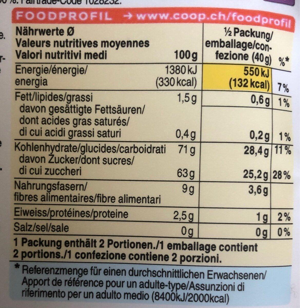 Mangue séchée - Voedingswaarden - fr