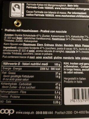 Pralinés piémontais noirs aux noisettes - Valori nutrizionali - fr