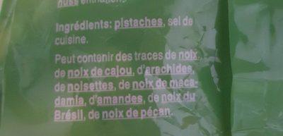 Pistaches salées - Ingrédients