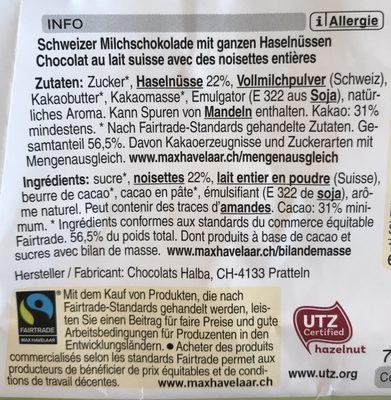 Chocolat au lait suisse avec des noisettes entières - Ingrediënten - fr