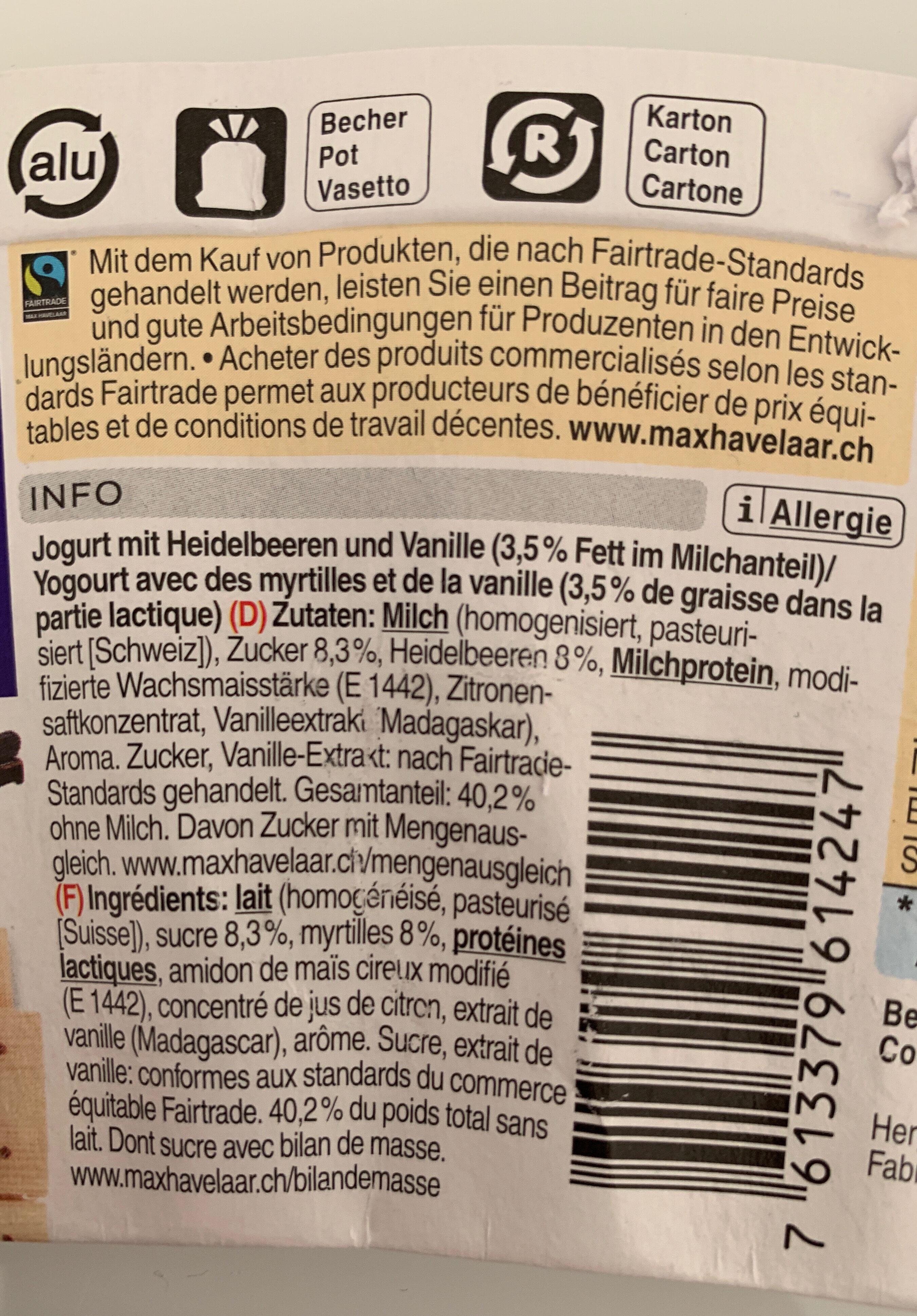 Jogurt Myrtille-Vanille - Ingredients