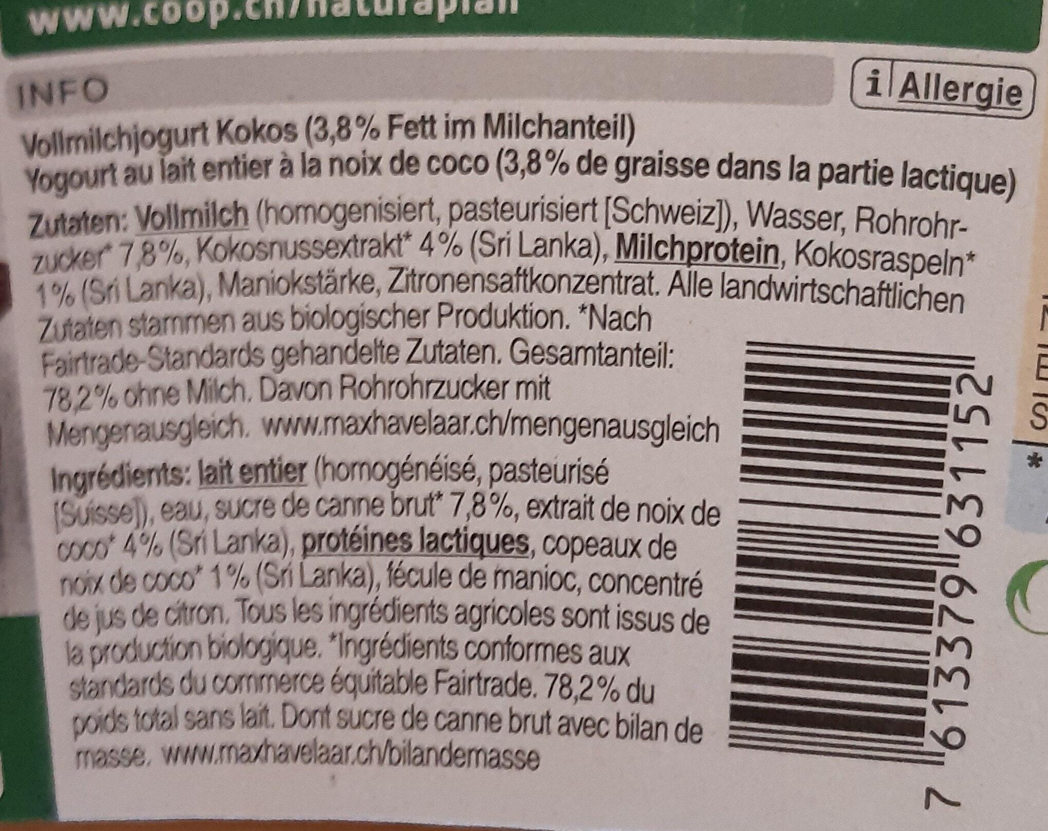 Jogurt Coco - Ingrédients - fr