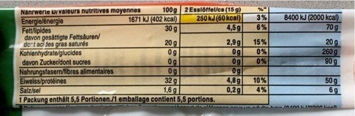 Parmigiano Regiano DOP - Valori nutrizionali - fr