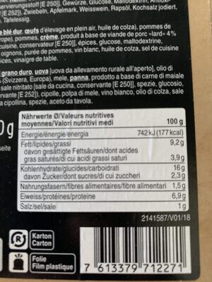 Älpler Magronen (Macaroni à la montagnarde) - Informations nutritionnelles