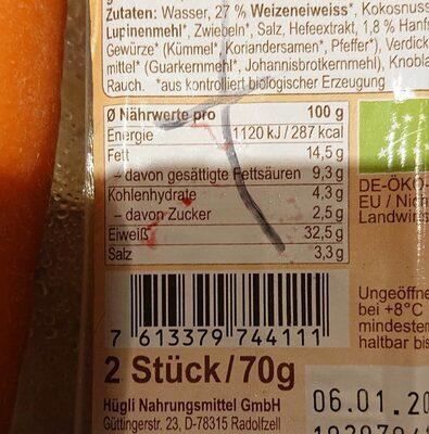 Landjäger Vegan - Nutrition facts - fr