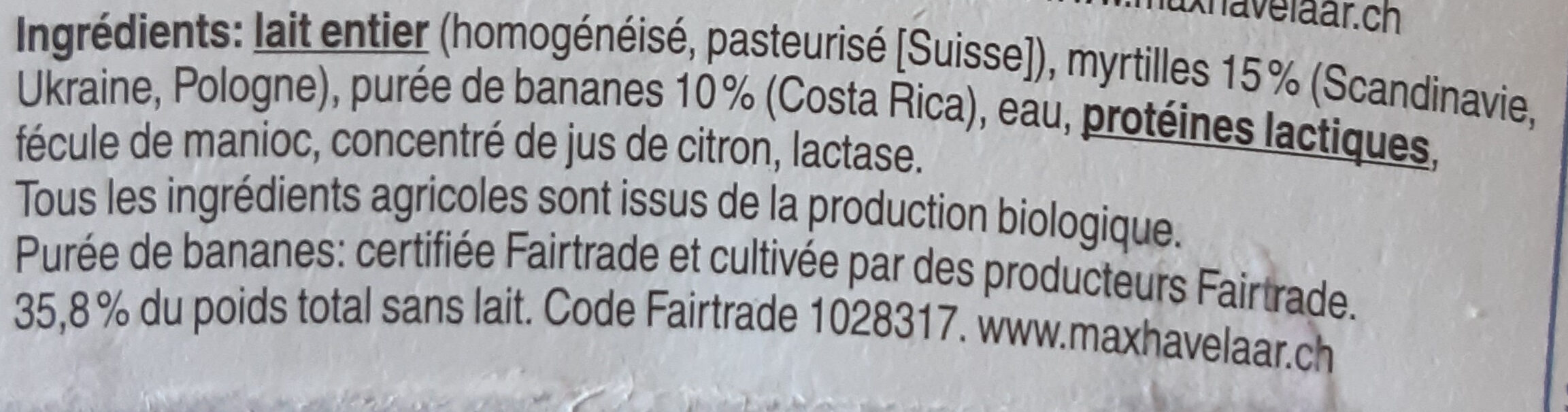 Jogurt heidelbeere-banane - Ingredients - fr