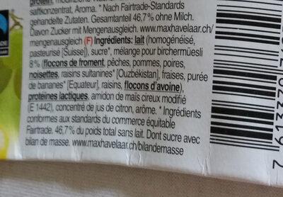 Yogourt Birchermuesli - Ingredients - fr
