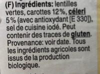 Lentilles vertes aux legumes - Ingredienti - fr