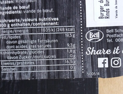 Burger trible B - Nutrition facts