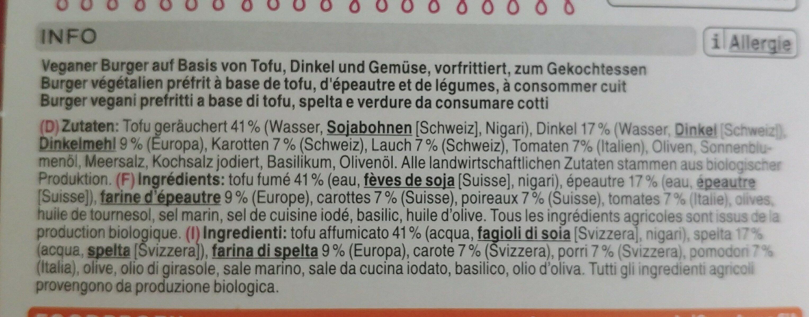 Bio Tofu Burger - Ingrédients