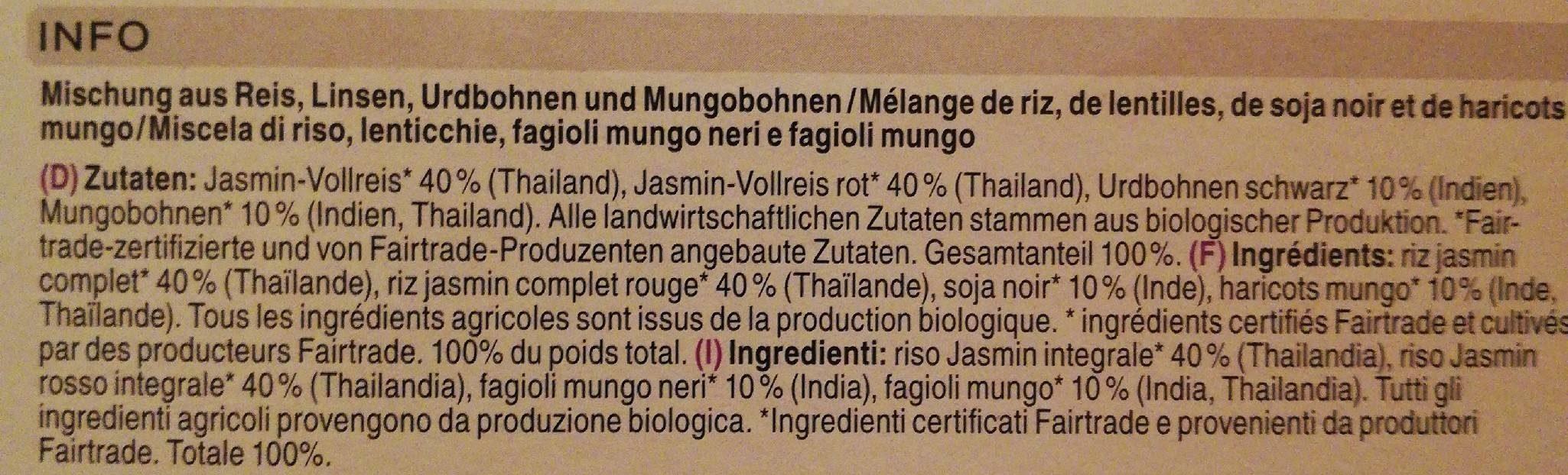 Bio Jasmine Rice Mix - Ingrédients
