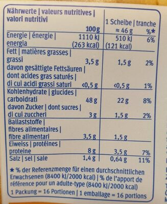 American XL-Toasy - Nutrition facts - fr