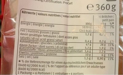 Flûtes sfilatini précuites - Valori nutrizionali