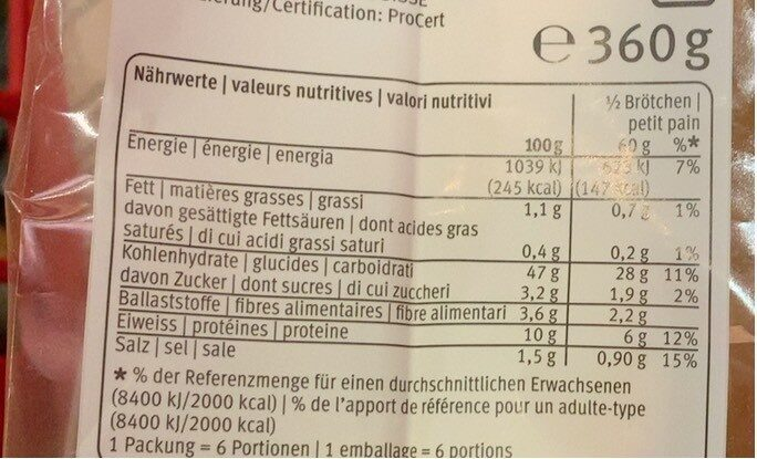 Flûtes sfilatini précuites - Valori nutrizionali - de