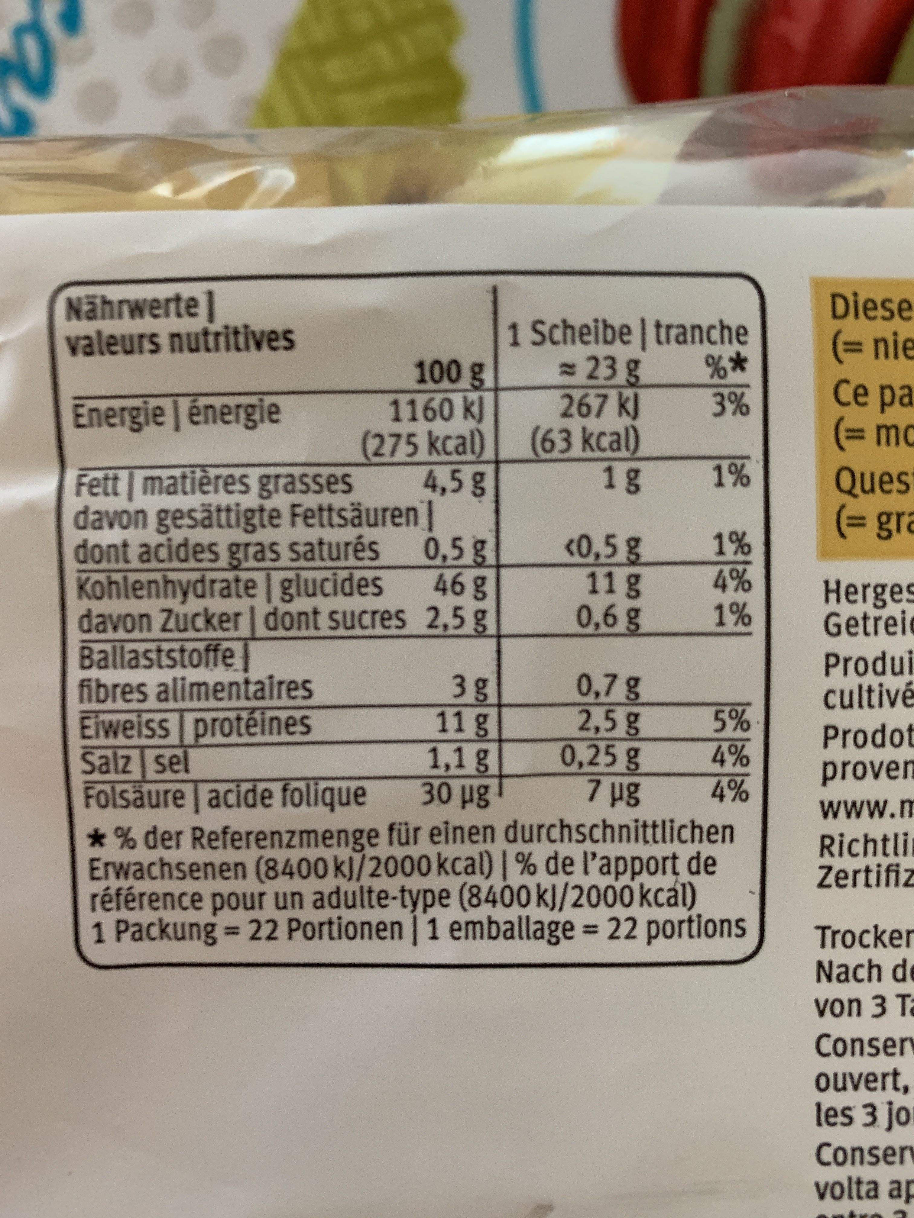 Toast Soleil - Nutrition facts - fr
