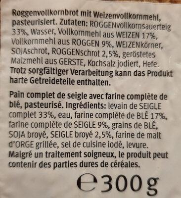Pain complet de seigle - Ingredienti - fr