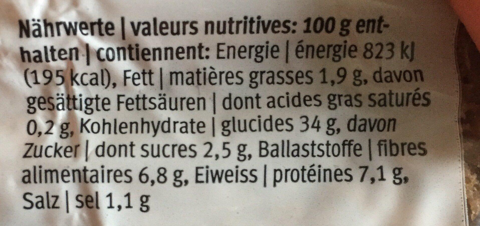 Pain complet de seigle - Valori nutrizionali - fr