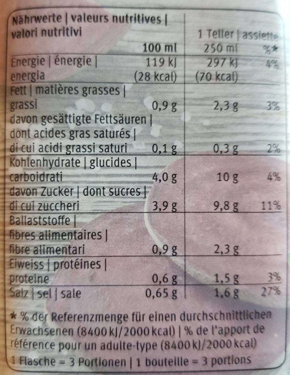Gaspacho randen - Voedingswaarden - fr