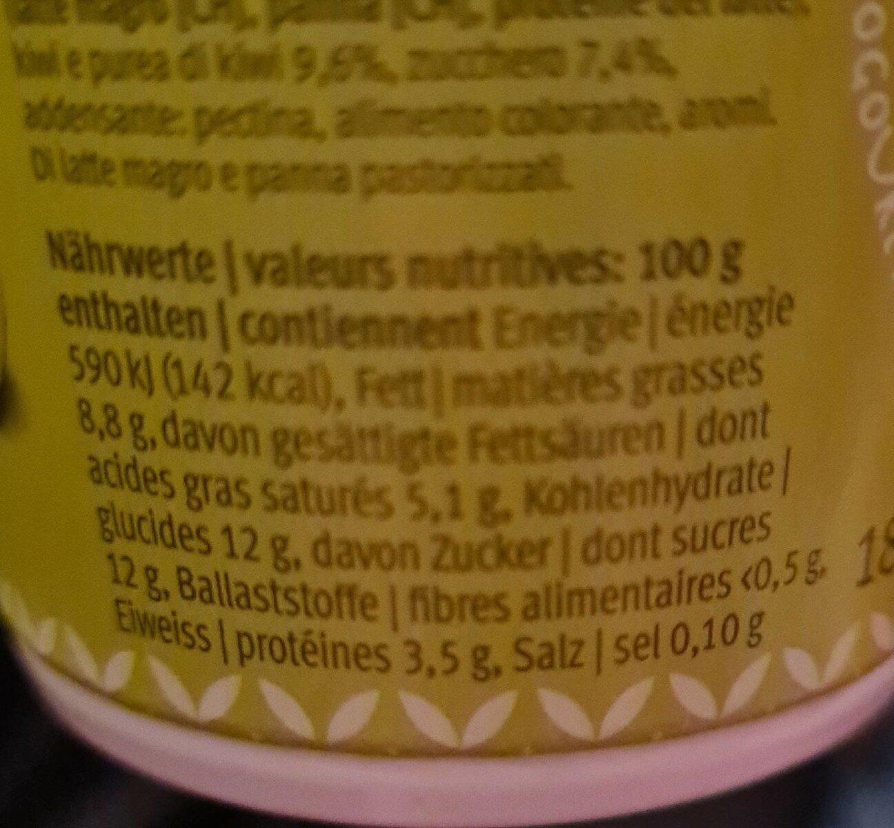 Yogos kiwi - Nutrition facts - fr