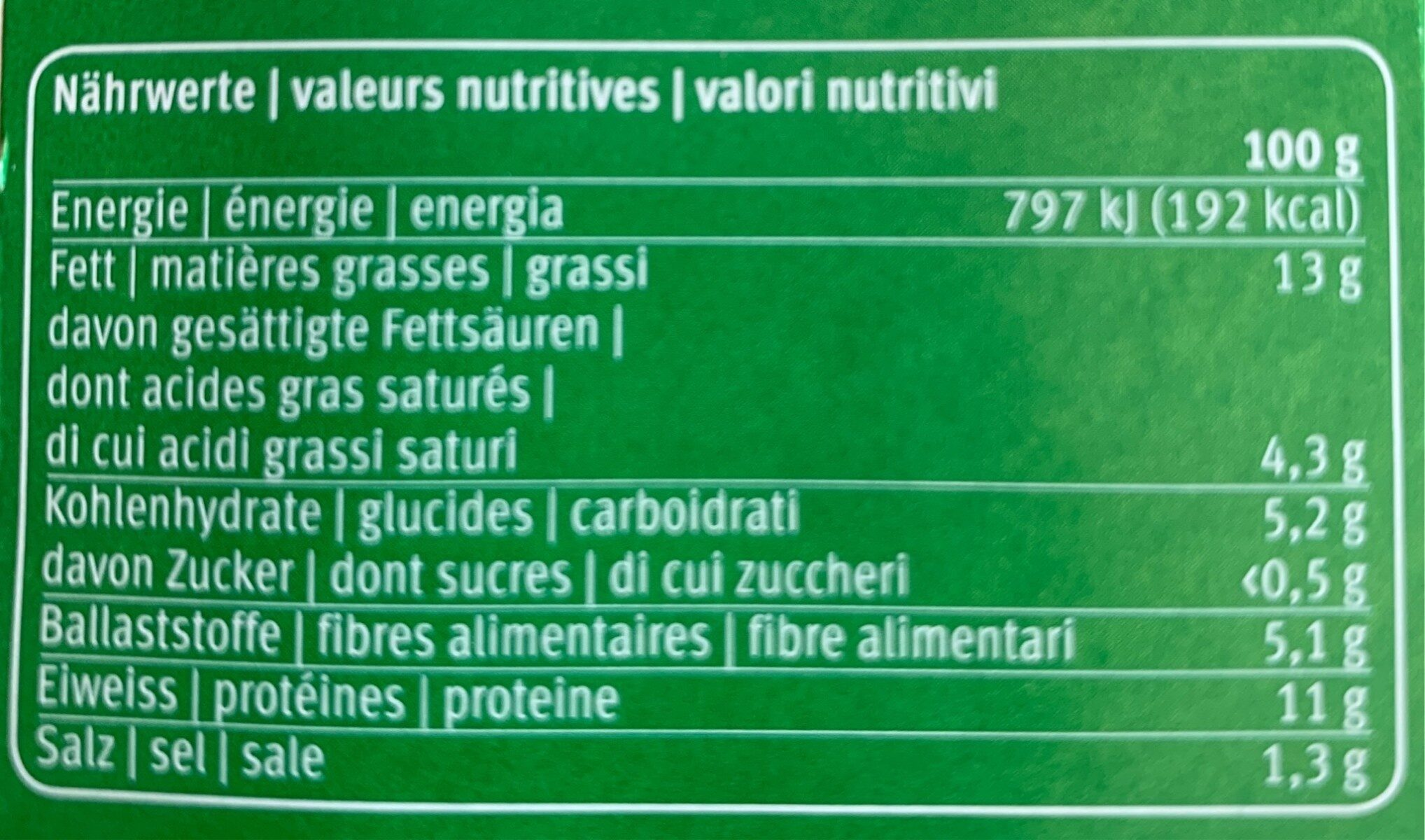 Saucisse à rôtir - Informations nutritionnelles - fr