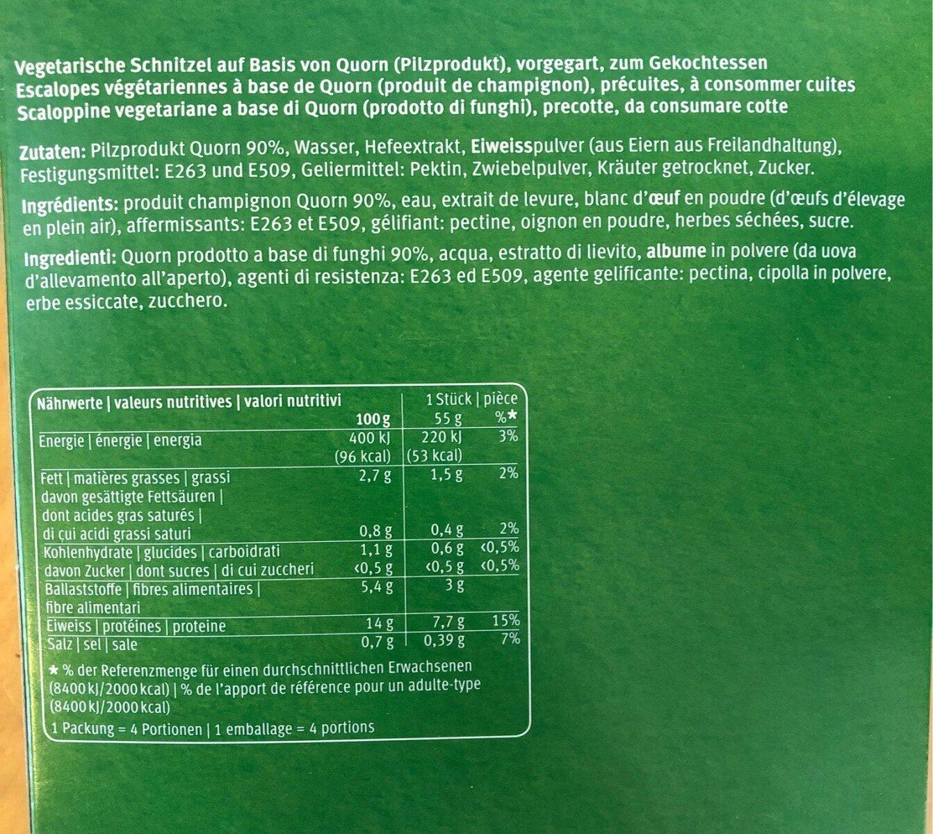 Quorn Nature Schnitzel - Ingrédients