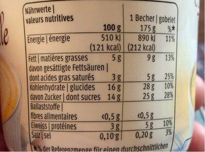 Crème vanille - Nutrition facts - fr