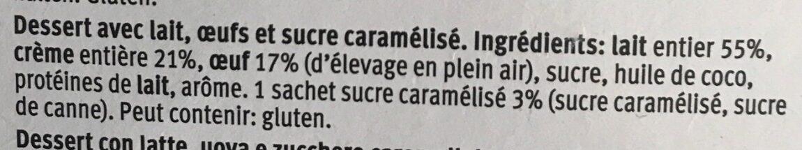 Crème brûlée - Ingredients